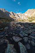 Morning view of Sky Pond, Rocky Mountain National Park, Colorado.