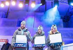 27.02.2018, Salzburg, AUT, PyeongChang 2018, ÖOC Medaillenfeier, im Bild v.l.: Marco Schwarz, Stephanie Brunner, Katharina Gallhuber // during a ÖOC medal celebration Party after the Olympic Winter Games Pyeongchang 2018 in Salzburg, Austria on 2018/02/27. EXPA Pictures © 2018, PhotoCredit: EXPA/ JFK