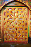 Traditional Berber designed painted door panels in the Mauseleum of Moulay Ismaïl Ibn Sharif , reigned 1672–1727. A UNESCO World Heritage Site .Meknes, Meknes-Tafilalet, Morocco. .<br /> <br /> Visit our MOROCCO HISTORIC PLAXES PHOTO COLLECTIONS for more   photos  to download or buy as prints https://funkystock.photoshelter.com/gallery-collection/Morocco-Pictures-Photos-and-Images/C0000ds6t1_cvhPo<br /> .<br /> <br /> Visit our ISLAMIC HISTORICAL PLACES PHOTO COLLECTIONS for more photos to download or buy as wall art prints https://funkystock.photoshelter.com/gallery-collection/Islam-Islamic-Historic-Places-Architecture-Pictures-Images-of/C0000n7SGOHt9XWI