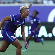 Orlando Pride forward Lianne Sanderson (10) celebrates her second half goal during a NWSL soccer match at Camping World Stadium on May 8, 2016 in Orlando, Florida. (Alex Menendez via AP)