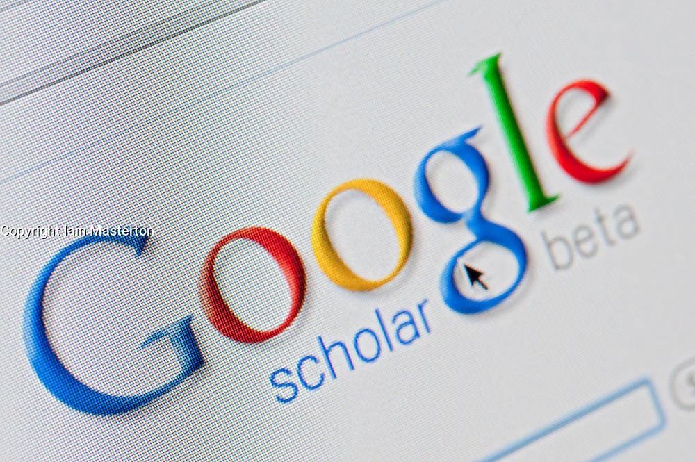 Detail of screenshot from website of Google scholar academic website