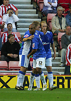 Photo: Andrew Unwin.<br /> Sunderland v Birmingham City. Coca Cola Championship. 09/08/2006.<br /> Birmingham celebrate their first goal scored by Mikael Forssell.