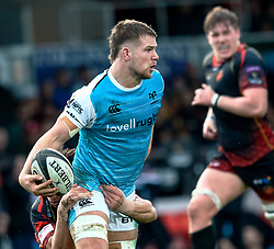 Olly Cracknell of Ospreys under pressure from  Zane Kirchner of Dragons<br /> <br /> Photographer Simon King/Replay Images<br /> <br /> Guinness PRO14 Round 12 - Dragons v Ospreys - Sunday 30th December 2018 - Rodney Parade - Newport<br /> <br /> World Copyright © Replay Images . All rights reserved. info@replayimages.co.uk - http://replayimages.co.uk