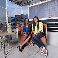 Chiney Ogwumike and Nneka Ogwumike pose on a rooftop, in downtown Los Angeles, California, USA.