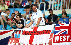 An England fan shows his support in the stands prior to the FIFA World Cup Group G match at The Volgograd Arena, Volgograd.