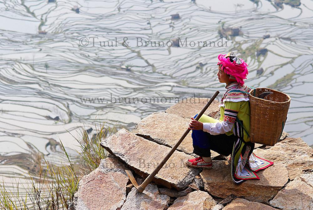 Chine. Province du Yunnan. Yuanyang, rizieres en eau. Femme d'ethnie Yi. // China, Yunnan, Yuanyang, terraced paddy-fields. Yi ethnic group woman.