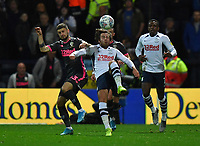 Preston North End's Ben Pearson battles with Leeds United's Mateusz Klich<br /> <br /> Photographer Dave Howarth/CameraSport<br /> <br /> The EFL Sky Bet Championship - Preston North End v Leeds United - Tuesday 22nd October 2019 - Deepdale Stadium - Preston<br /> <br /> World Copyright © 2019 CameraSport. All rights reserved. 43 Linden Ave. Countesthorpe. Leicester. England. LE8 5PG - Tel: +44 (0) 116 277 4147 - admin@camerasport.com - www.camerasport.com