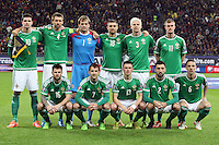 ROMANIA, Bucharest : Northern Ireland's players before the Euro 2016 Group F qualifying football match Romania vs Northern Ireland in Bucharest, Romania on November 14, 2014.