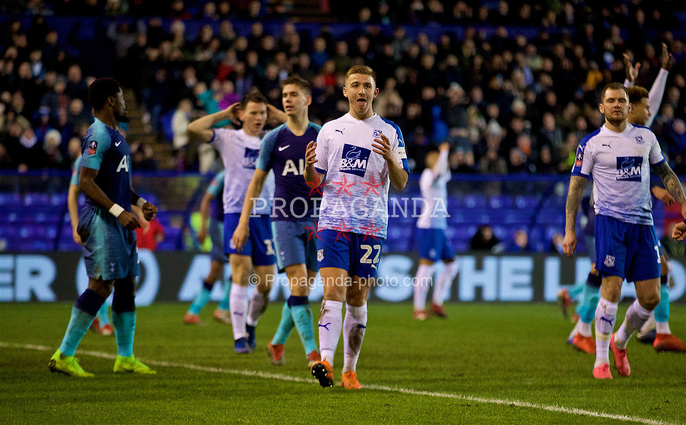 BIRKENHEAD, ENGLAND - Friday, January 4, 2019: Tranmere Rovers' Harvey Gilmour looks dejected after missing a chance during the FA Cup 3rd Round match between Tranmere Rovers FC and Tottenham Hotspur FC at Prenton Park. (Pic by David Rawcliffe/Propaganda)