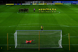 Cameron Brannagan of Oxford United scores the winning penalty in the shootout - Mandatory by-line: Robbie Stephenson/JMP - 06/10/2020 - FOOTBALL - Kassam Stadium - Oxford, England - Oxford United v Bristol Rovers - Leasing.com Trophy