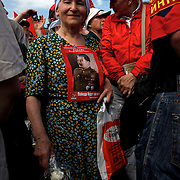 Communist supporters march in central Moscow on Victory Day with portraits of Soviet dictator Josef Stalin.