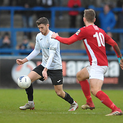 TELFORD COPYRIGHT MIKE SHERIDAN Arlen Birch of Telford during the Vanarama Conference North fixture between AFC Telford United and Brackley Town at the New Bucks Head on Saturday, January 4, 2020.<br /> <br /> Picture credit: Mike Sheridan/Ultrapress<br /> <br /> MS201920-039