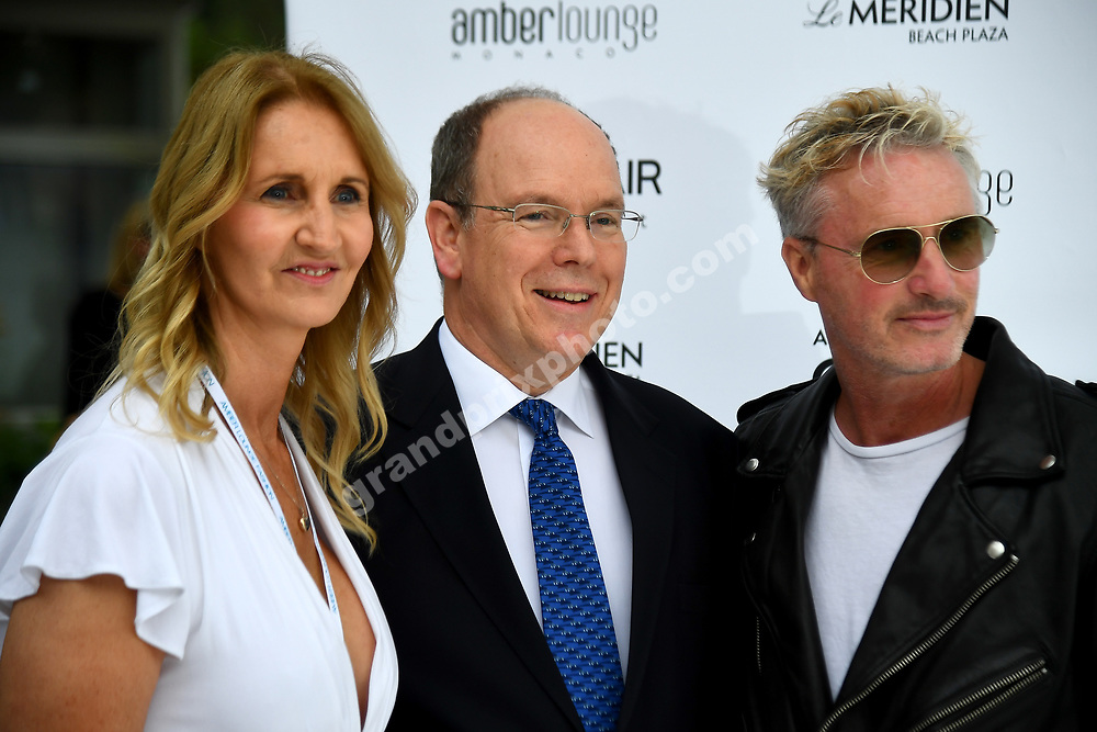 Sonia Irvina, Eddie Irvine and Prince Albert at Amber Lounge fashion show before the 2019 Monaco Grand Prix. Photo: Grand Prix Photo