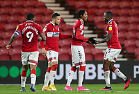 Middlesbrough's Djed Spence celebrates scoring his side's second goal with Anfernee Dijksteel<br /> <br /> Photographer Alex Dodd/CameraSport<br /> <br /> The EFL Sky Bet Championship - Middlesbrough v Coventry City - Tuesday 27th October 2020 - Riverside Stadium - Middlesbrough<br /> <br /> World Copyright © 2020 CameraSport. All rights reserved. 43 Linden Ave. Countesthorpe. Leicester. England. LE8 5PG - Tel: +44 (0) 116 277 4147 - admin@camerasport.com - www.camerasport.com