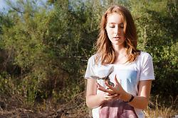 Woman  releasing bird after bird banding and measurement, Mitchell Lake Audubon Center, San Antonio, Texas, USA.