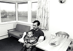 Man & son in Mellors Lodge is a housing association property providing a range of low cost social housing to people needing somewhere to live, St Ann's, Nottingham, UK 1992