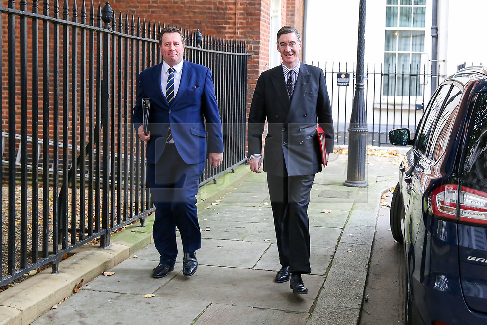 © Licensed to London News Pictures. 29/10/2019. London, UK. Leader of The House of Commons JACOB REES-MOGG (R) and Conservative Party Chief Whip MARK SPENCER  (L departs from No 10 Downing Street after attending the weekly cabinet meeting. Photo credit: Dinendra Haria/LNP
