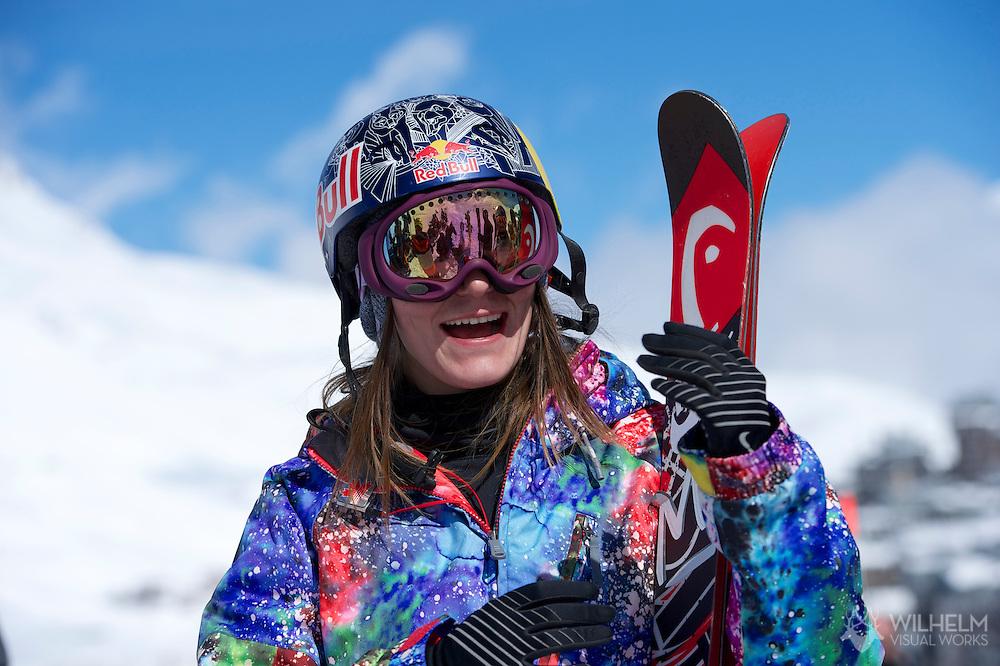 Kaya Turski during  Ski Slopestyle Practice at the 2013 X Games Tignes in Tignes, France. ©Brett Wilhelm/ESPN