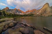 Just before sunrise, Pingora Peak and Lonesome Lake, Wind River Range, Wyoming