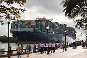 CMA CGM Brazil, one of the largest container ships to call on the U.S. East Coast, sails upriver to the Georgia Ports Authority's  Garden City Terminal, Friday, Sept., 18, 2020, in Savannah, Ga. (GPA Photo/Stephen B. Morton)