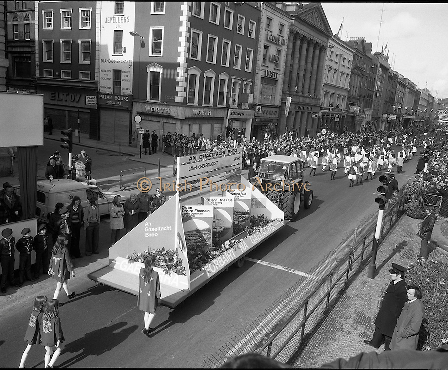 St Patricks day Parade, Dublin .17/03/1976.03/17/1976.17th March 1976.A float representing the gaeltacht goes past the grandstand outside the GPO, O'Connell Street.