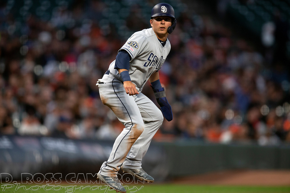 San Diego Padres' Luis Urias leads off third base during the fourth inning of a baseball game against the San Francisco Giants, Thursday, Aug. 29, 2019, in San Francisco. (AP Photo/D. Ross Cameron)