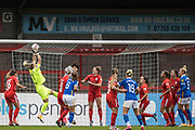 Birmingham City Goalkeeper Hannah Hampton (1) saves the ball during the Women's FA Cup match between Brighton and Hove Albion Women and Birmingham City Women at The People's Pension Stadium, Crawley, England on 27 September 2020.