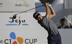 October 19, 2017 - Seogwipo, Jeju Island, South Korea - JUSTIN THOMAS of the USA in action on the 10th tee during the CJ Cup Nine Bridge at Nine Bridge CC in Jeju, South Korea. Thomas finished round one on top of the leaderboard at 9 under par. (Credit Image: © Ryu Seung Il via ZUMA Wire)