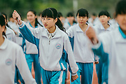 HUIZHOU, CHINA - MARCH 27: (CHINA OUT) <br /> <br /> Female Students Take Military Training With Daggers <br /> <br /> Female students practice with emulate daggers during military training on March 27, 2015 in Huizhou, Guangdong province of China. Huizhou Comprehensive High School let female students practice dagger excercise with emulate daggers to improve their consciousness of self protection and improve the students\' enthusiasm on Friday. <br /> ©Exclusivepix Media