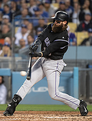 May 22, 2018 - Los Angeles, CA, U.S. - LOS ANGELES, CA - MAY 22: Colorado Rockies' Charlie Blackmon (19) swings for a hit during a Major League Baseball game between the Colorado Rockies and the Los Angeles Dodgers on May 22, 2018 at Dodger Stadium in Los Angeles, CA. (Photo by Kyusung Gong/Icon Sportswire) (Credit Image: © Kyusung Gong/Icon SMI via ZUMA Press)