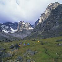 NORTHWEST TERRITORIES, Camp in Cirque of the Unclimbables, Northwest Territories, Canada.