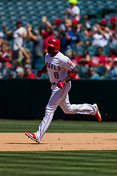 June 3, 2018 - Anaheim, CA, U.S. - ANAHEIM, CA - JUNE 03: Los Angeles Angels left fielder Justin Upton (8) during the MLB regular season game against the Texas Rangers on June 03, 2018 at Angel Stadium of Anaheim in Anaheim, CA. (Photo by Ric Tapia/Icon Sportswire) (Credit Image: © Ric Tapia/Icon SMI via ZUMA Press)