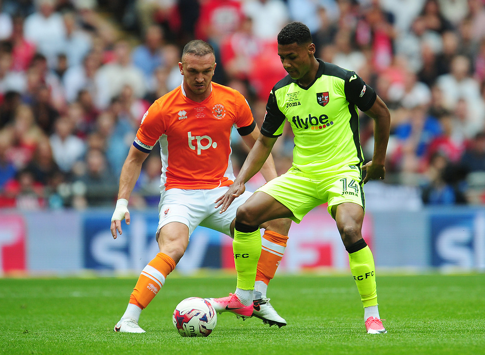 Exeter City's Ollie Watkins under pressure from Blackpool's Tom Aldred<br /> <br /> Photographer Kevin Barnes/CameraSport<br /> <br /> The EFL Sky Bet League Two Play-Off Final - Blackpool v Exeter City - Sunday May 28th 2017 - Wembley Stadium - London<br /> <br /> World Copyright © 2017 CameraSport. All rights reserved. 43 Linden Ave. Countesthorpe. Leicester. England. LE8 5PG - Tel: +44 (0) 116 277 4147 - admin@camerasport.com - www.camerasport.com