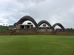 """A view of the three-arch pavilion at a new cricket stadium which has been dubbed the """"Lord's of East Africa"""" ahead of its official opening and a celebrity T20 match on Saturday, in Rwanda."""