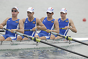 Beijing, CHINA.FRA. JM4-, Bow, Aymeric FOUQUART, Victor GYORFFY, Guillaume LEMASSON and Lucas VITALE d'ARCO, move away from the start during their semi final, at  the  2007. FISA Junior World Rowing Championships,  Shunyi Water Sports Complex. 10/08/2007 [Photo, Peter Spurrier/Intersport-images]..... , Rowing Course, Shun Yi Water Complex, Beijing, CHINA,
