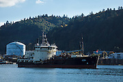 USA, Oregon, Portland, Cathedral Park, USS Yaquina, US Army Corps of Engineers dredging ship.