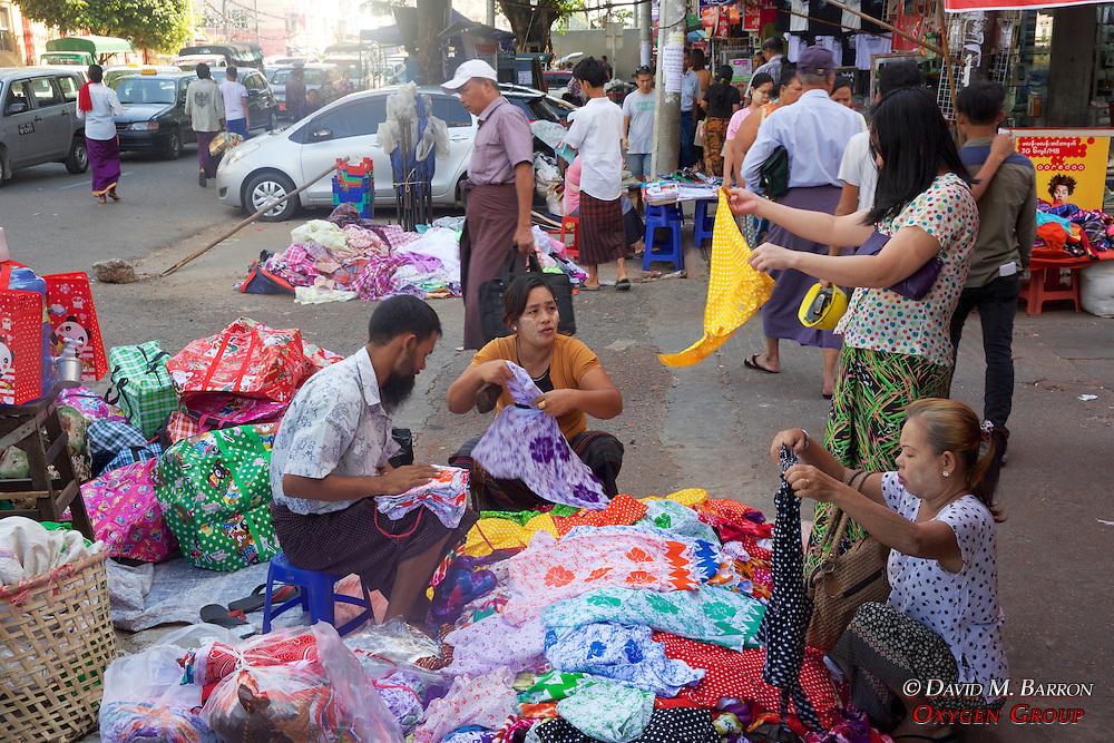 Street Vendor Selling Clothing Near Gyee Zai Market