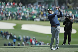 April 8, 2018 - Augusta, GA, USA - Jon Rahm hits his fairway shot on one  during the final round of the Masters at Augusta National Golf Club on Sunday, April 8, 2018, in Augusta, Ga. (Credit Image: © Curtis Compton/TNS via ZUMA Wire)