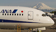A new Boeing 787-9, undergoing testing, is parked at Boeing Field in Seattle. Mt. Rainier looms in the distance.<br /> <br /> Mike Siegel / The Seattle Times