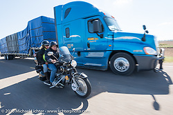 Motorcycle Cannonball insurance sponsor Greg Allen and Pamela Sanwald on Gregs restored BMW as they follow centennial riders from coast to coast on the Motorcycle Cannonball Race of the Century. Stage-8 from Wichita, KS to Dodge City, KS. USA. Saturday September 17, 2016. Photography ©2016 Michael Lichter.