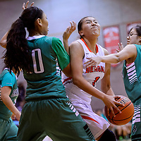 022715       Cable Hoover<br /> <br /> Gallup Bengal Rachelle Blackgoat (1) charges through the Farmington Scorpions defense during the district championship Friday at Gallup High School.