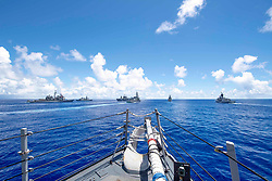 May 24, 2019 - At Sea - From left to right, the guided-missile cruiser USS Antietam (CG 54), Republic of Korea Navy guided-missile destroyer ROKS Wang Geon (DDH 978), amphibious command ship USS Blue Ridge (LCC 19), Japanese Maritime Self Defense Force (JMSDF) destroyer JS Ariake (DD 109),  JMSDF destroyer JS Asahi (DD 119), and Royal Australian Navy guided-missile frigate HMAS Parramatta (FFH 154), steam into formation during Pacific Vanguard (PACVAN). PACVAN is the first of its kind quadrilateral exercise between Australia, Japan, Republic of Korea, and U.S. Naval forces. Focused on improving the capabilities of participating countries to respond together to crisis and contingencies in the region, PACVAN prepares the participating maritime forces to operate as an integrated, capable, and potent allied force ready to respond to a complex maritime environment in the Indo-Pacific region. (Credit Image: ? U.S. Navy/ZUMA Wire/ZUMAPRESS.com)