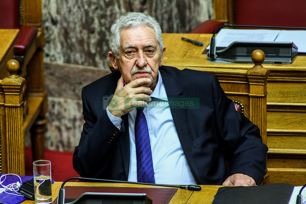 December 17, 2018 - Athens, Greece - Fotis Kouvelis is seen during the discussion. The five-day discussion of the 2019 budget continues with the 4th day. The discussion will be completed on Tuesday 18th December. (Credit Image: © Kostas Pikoulas/Pacific Press via ZUMA Wire)