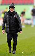 Leicester Tigers Head  Assistant Coach Mike Ford watch the team warm up before a Gallagher Premiership Round 10 Rugby Union match, Friday, Feb. 20, 2021, in Leicester, United Kingdom. (Steve Flynn/Image of Sport)