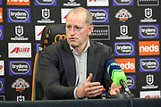 Wests Tigers coach, Michael Maguire at the post-match press conference. Wests Tigers v Vodafone Warriors. NRL Rugby League, Sydney Cricket Ground, Sydney, NSW, Australia. 31 July 2020. Copyright Photo: David Neilson / www.photosport.nz