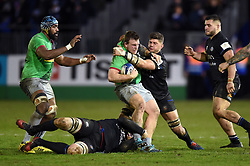 Max Crumpton of Harlequins is tackled by Mike Williams of Bath Rugby - Mandatory byline: Patrick Khachfe/JMP - 07966 386802 - 10/01/2020 - RUGBY UNION - The Recreation Ground - Bath, England - Bath Rugby v Harlequins - Heineken Champions Cup