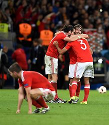 Gareth Bale, Neil Taylor, Joe Allen and Ben Davies of Wales react to Wales win on the final whistle  - Mandatory by-line: Joe Meredith/JMP - 01/07/2016 - FOOTBALL - Stade Pierre Mauroy - Lille, France - Wales v Belgium - UEFA European Championship quarter final