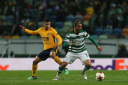 April 12, 2018 - Lisbon, Portugal - Sporting's midfielder Ruben Ribeiro from Portugal (R ) vies with Atletico Madrids forward Angel Correa of Argentina during the UEFA Europa League second leg football match Sporting CP vs Atletico Madrid at Alvalade stadium in Lisbon, on April 12, 2018. (Credit Image: © Pedro Fiuza/NurPhoto via ZUMA Press)