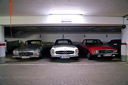ROTTACH-EGERN, GERMANY - Wednesday, July 26, 2017: Vintage Mercedes cars parked in a garage in Rottach-Egern, the base for Liverpool's preseason training camp in Germany. (Pic by David Rawcliffe/Propaganda)