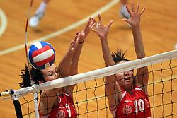 Sonja Borovinsek and Vesna Vardic of Nova KBM at 1st match of finals of 1st DOL women volleyball league between OK Hit Nova Gorica and OK Nova KBM Branik, Maribor played in OS Milojke Strukelj, on April 8, 2009, in Nova Gorica, Slovenia. Nova KBM Branik won 3:1. (Photo by Vid Ponikvar / Sportida)